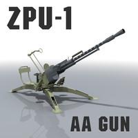 zpu-1 gun afghanistan libya 3d obj