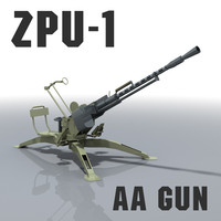 3d model zpu-1 gun afghanistan libya