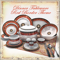 Dinner Tableware Red Border Theme