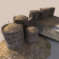 wicker barrier 3d model