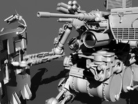3d military robot weapon