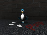 cartoony penguin 3d model