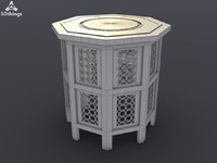 Octagonal hand carved and inlaid Moroccan wooden table