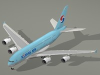 3d model airbus a380-800 korean air a380