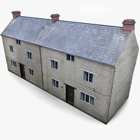3d model photorealistic english village house