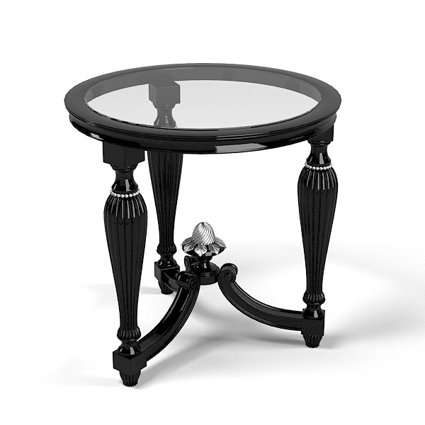 FRANCESCO molon round black classic glass baroque traditional side coffee table.jpg