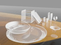 3d set glass cups bowl