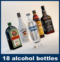 18 alcohol bottles