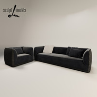 fashion supersoft suite sofa armchair 3d max