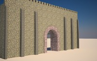 3d medievil castle walls model