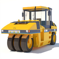 pneumatic asphalt compactor 3d model