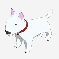 3d model cartoon bull terrier rendered