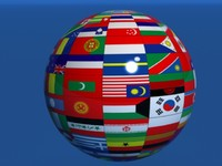 3d earth globe country flags model