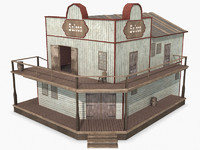 Western Corner Saloon, Low Poly, Textured