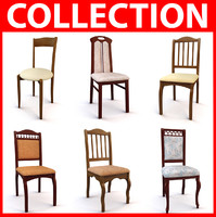 3d model set classic chairs
