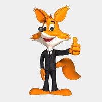 fox cartoon character suit 3d model