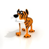 3ds max cartoon tiger rigged