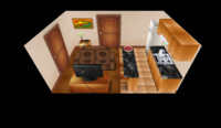 3d apartment room low-poly model