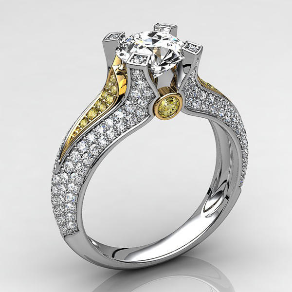 stl engagement ring 2 3d model - Engagement Ring with white and yellow gold 2... by andeeer