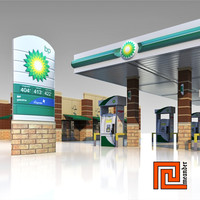 Low poly gas station BP