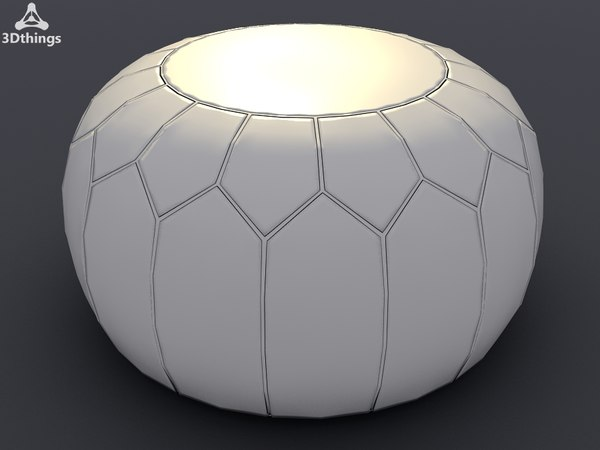 leather puff ball 3d max - Moroccan leather puff ball pouffe in pale mushroom... by 3dthings