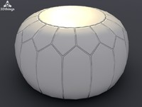 Moroccan leather puff ball pouffe in pale mushroom