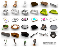 3d model items living room tables