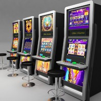 Casino Slot Machines & Stool