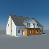 photoreal villa duplex house 3d model