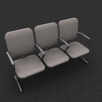 3d triple office chair model