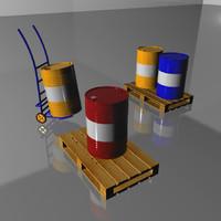 3d barrels pallet truck model
