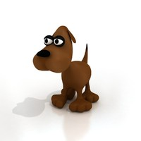 3d cartoon dog rigged