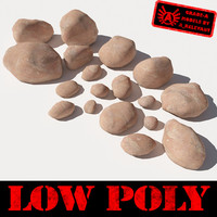 Rocks 4 Low Poly Smooth RS03 - Light Red or Orange 3D rocks or stones