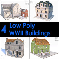 WWII Building Collection, Low Poly, Textured