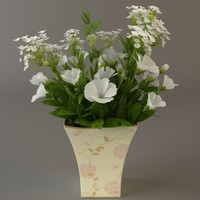 white bouquet 3d 3ds