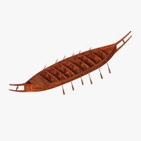 germanic ancient boat 3d model