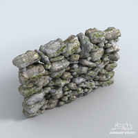rock wall 3 parts 3d model