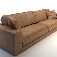 Photorealistic Long Leather Sofa