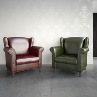 obj leather armchair classic interior