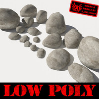 Rocks 1 Low Poly Smooth RS15 - Tan or Grey 3D Rocks or Stones