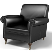 Epoque Wolf black leather fireplace chair comfortable traditional classic