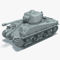 3d m4a3 sherman tank rigged