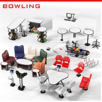Amf qubica bowling equipment  set collection pos seating return machine scorer touchscreen ball pins chair
