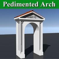 3d model pedimented arch