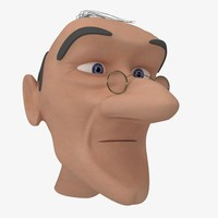 3d head cartoon old man