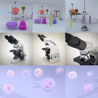 lab equipment microscope - 3d model