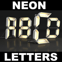 3ds max letters neon lights