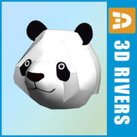 3ds low-poly panda head