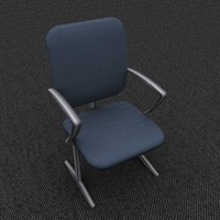 single office chair blue 3d model