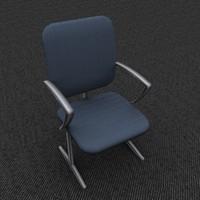 single office chair blue 3d model
